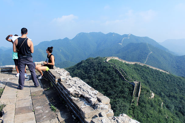 On top of the tallest tower in the area - Switchback Great Wall camping, 2016/08