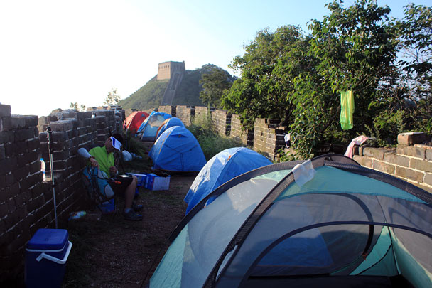 Tents all set up - Switchback Great Wall camping, 2016/08