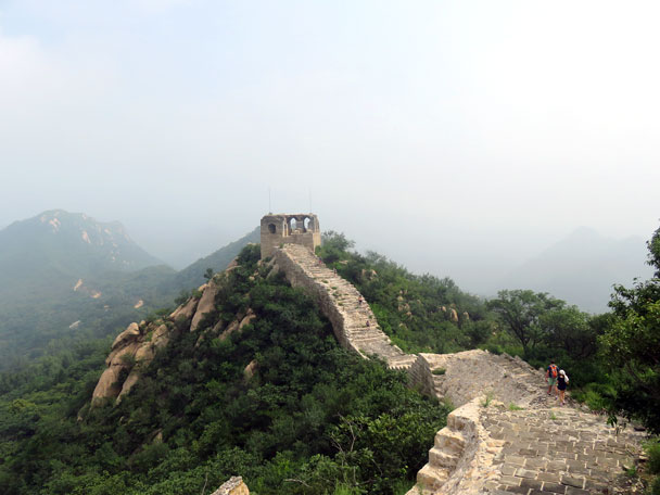 Up on the first section of Great Wall for the hike and heading towards a watch tower - Longquanyu Great Wall to the Little West Lake, 2016/08/10