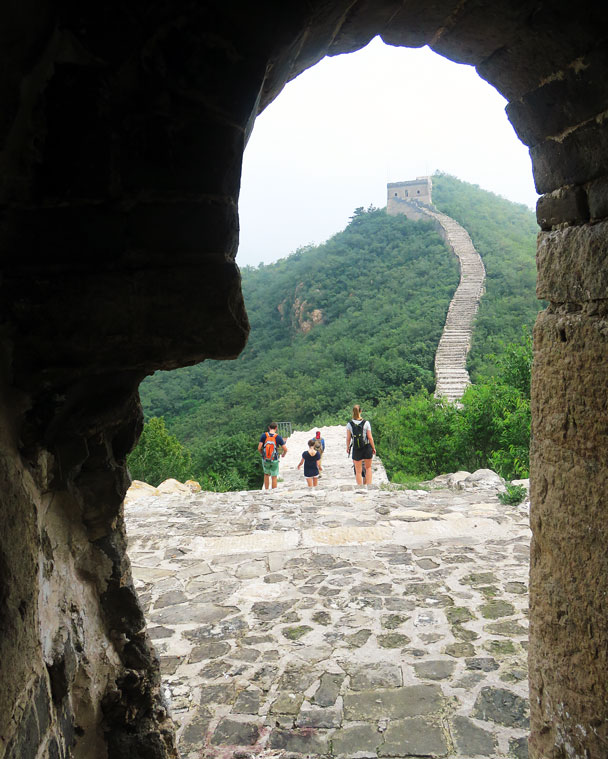 Looking out from inside a tower - Longquanyu Great Wall to the Little West Lake, 2016/08/10