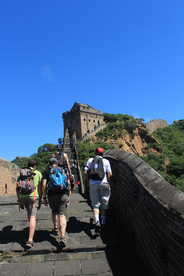 Just about to make the steep climb up to one of the larger towers - Hemp Village to Jinshanling Great Wall East, 2016/08/14