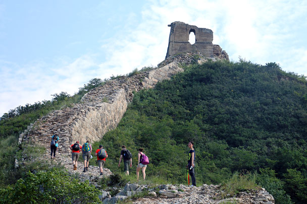 We hiked up the wall and through this broken tower - Switchback Great Wall Camping, 2016/8/20