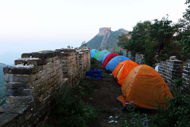 Our campsite in the morning - Switchback Great Wall Camping, 2016/8/20