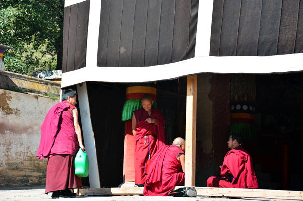 Monks waiting for the prayer ceremony - Xiahe, Labrang Monastery, and the Zhagana area in southern Gansu, September 2016
