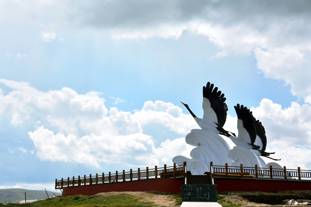 The crane sculptures are part of a new wetlands park project - Xiahe, Labrang Monastery, and the Zhagana area in southern Gansu, September 2016