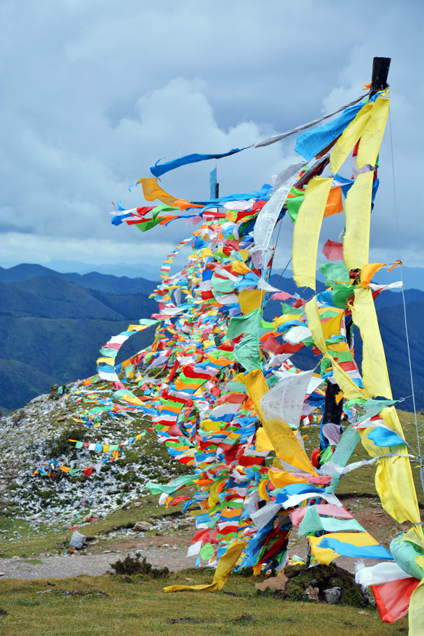 Prayer flags high up on a hill - Xiahe, Labrang Monastery, and the Zhagana area in southern Gansu, September 2016