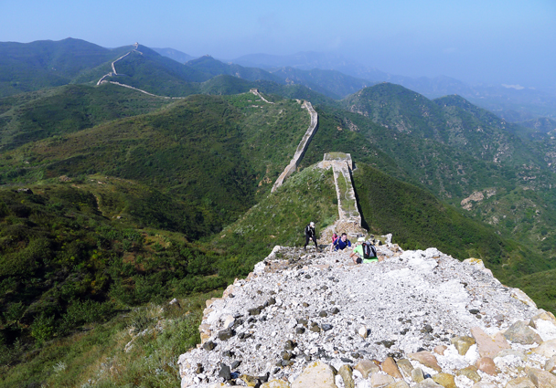 Looking back down a steep and rough section - Yanqing Great Wall and High Tower Challenge, 2016/09/24