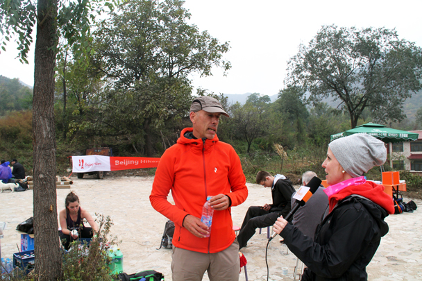 Here's Jurgen, the fastest finisher on the 24km trail, being interviewed by Louise of Beijing Hikers TV - 2016 Hiking Festival photos