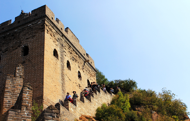 A restored watch tower – one of the busiest spots here on the wall, given that this is where the cable car brings all the non-hiking visitors - Jinshanling Great Wall to Gubeikou Great Wall, 2016/10/03