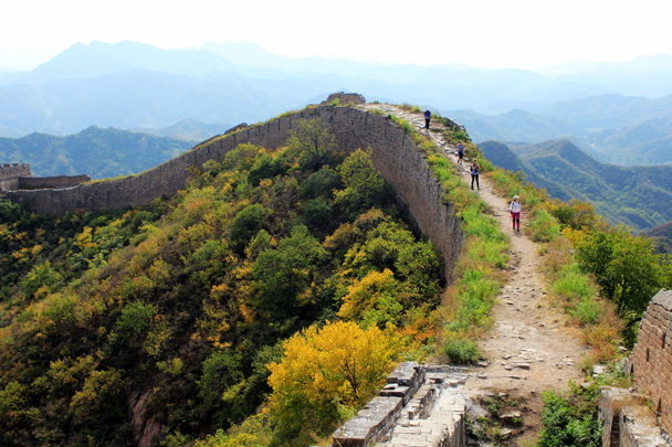 At the western end of Jinshanling the wall has been left unrepaired - Jinshanling Great Wall to Gubeikou Great Wall, 2016/10/03