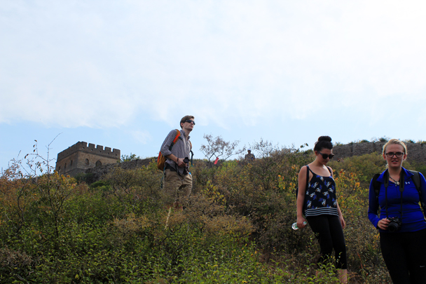 Here's where we have to get off the Wall to walk around a military zone. The trail leads down to a settlement we call the Hemp Village - Jinshanling Great Wall to Gubeikou Great Wall, 2016/10/03