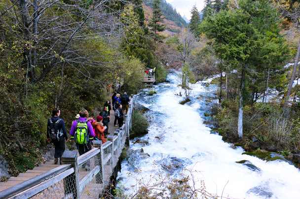 A boardwalk by a rushing river - Jiuzhaigou and Huanglong National Parks, Sichuan, 2016/11