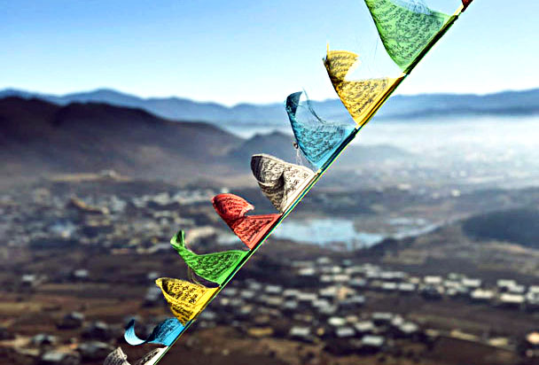 Prayer flags above the town - Lijiang and Shangri-La, Yunnan Province, November 2016
