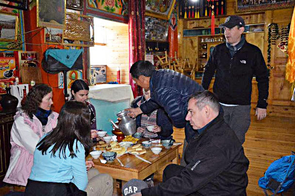We tried yak butter tea and local food in a Tibetan guesthouse - Lijiang and Shangri-La, Yunnan Province, November 2016