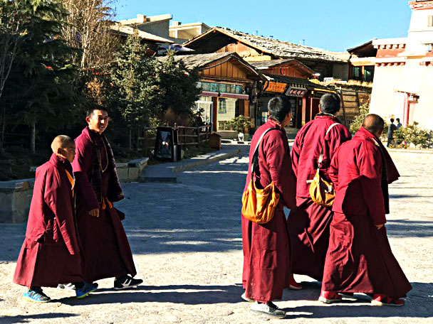 Monks in Shangri-La's old town - Lijiang and Shangri-La, Yunnan Province, November 2016