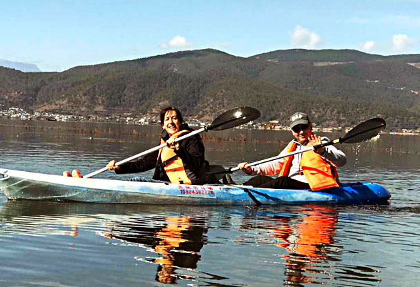 Kayaking on the lake - Lijiang and Shangri-La, Yunnan Province, November 2016