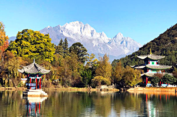 Pavilions and Jade Dragon Snow Mountain - Lijiang and Shangri-La, Yunnan Province, November 2016
