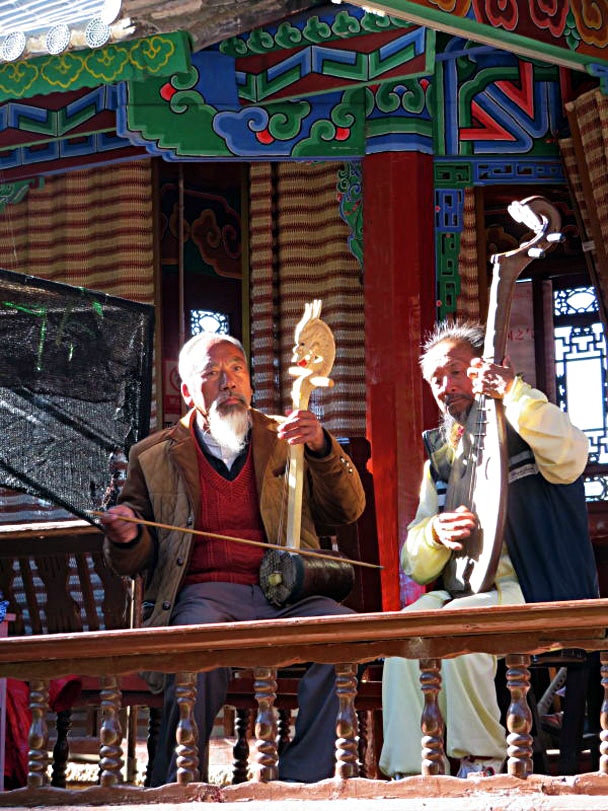 Naxi musicians with their traditional instruments - Lijiang and Shangri-La, Yunnan Province, November 2016