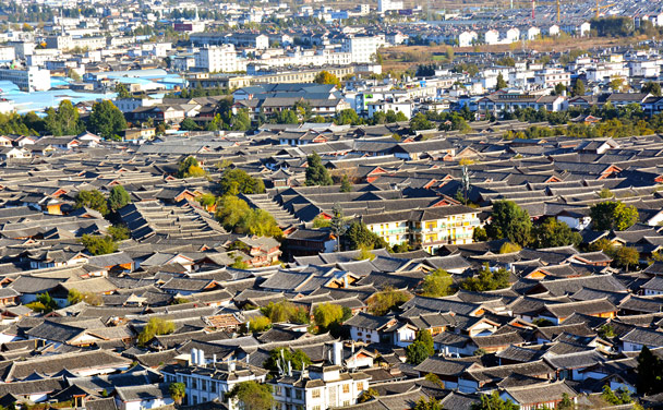 A bird's-eye view of Lijiang ancient town - Lijiang and Shangri-La, Yunnan Province, November 2016