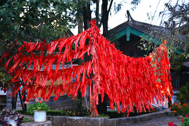 Red ribbons for good luck - Lijiang and Shangri-La, Yunnan Province, November 2016
