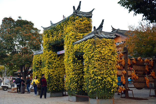 Flowers decorate this gate - Lijiang and Shangri-La, Yunnan Province, November 2016