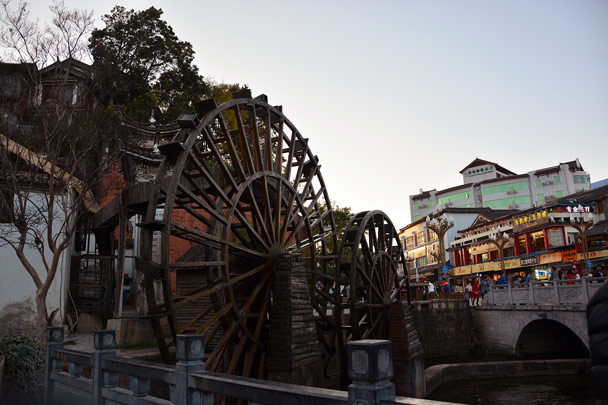 One of the landmarks in Lijiang ancient town—water wheels - Lijiang and Shangri-La, Yunnan Province, November 2016
