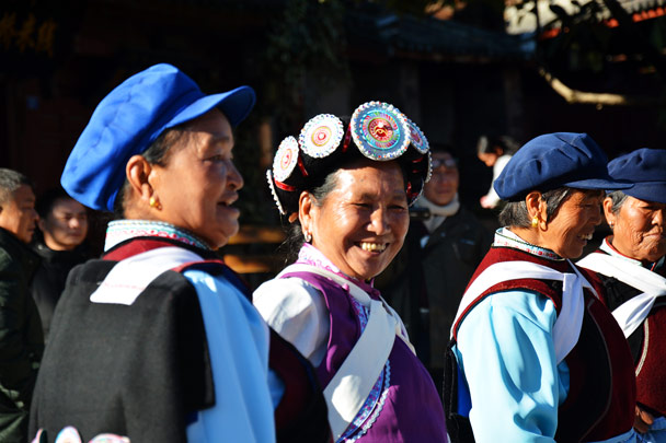 Naxi ladies dancing in the town square - Lijiang and Shangri-La, Yunnan Province, November 2016