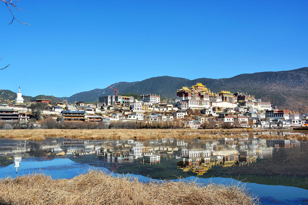 The monastery reflected in the lake - Lijiang and Shangri-La, Yunnan Province, November 2016