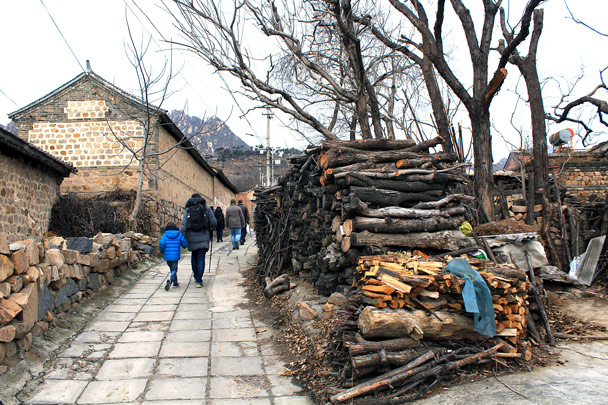 Firewood stacked by a lane in the village - Silver Pagoda Loop hike, 2016/12/04