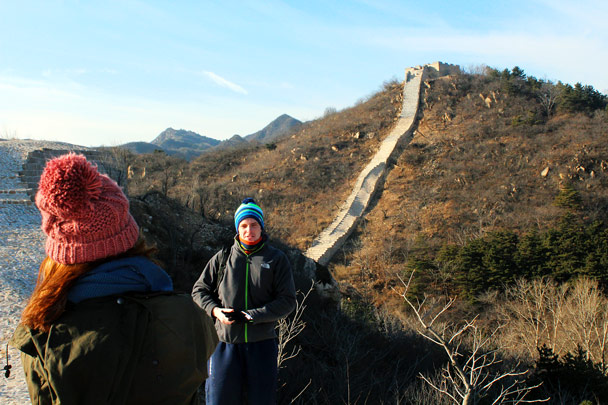 Taking a pose in front of a renovated section of the wall - Longquanyu Loop and Great Wall, 2016/12/19