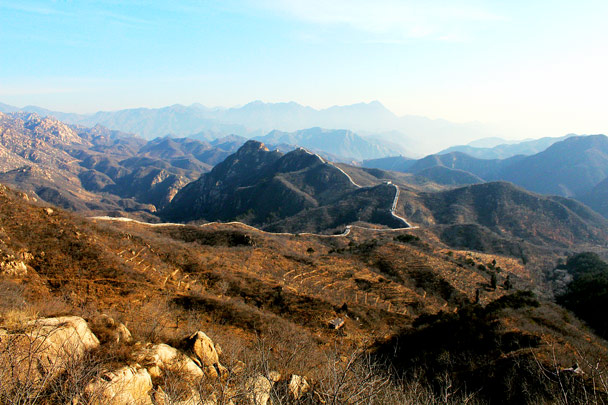 A beautiful view, with the wall running along a ridge above chestnut orchards - Longquanyu Loop and Great Wall, 2016/12/19