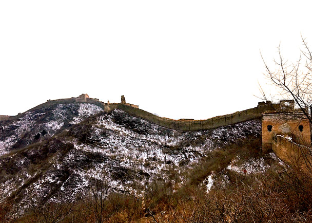 Snow on the hills below the wall - Hemp Village to Gubeikou Great Wall, 2016/12/24