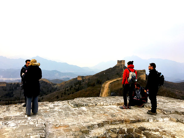 Photo break on top of a tower - Hemp Village to Gubeikou Great Wall, 2016/12/24