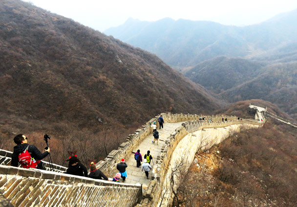 A steep descent on the Mutianyu Great Wall - Christmas on the Great Wall, 2016/12/25