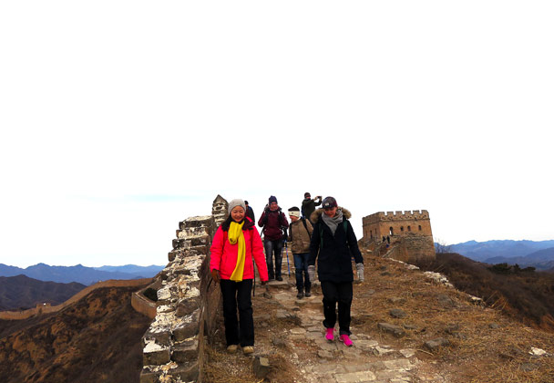The hiking team on the way over to Jinshanling - Hemp Village to Jinshanling Great Wall, 2016/12/28
