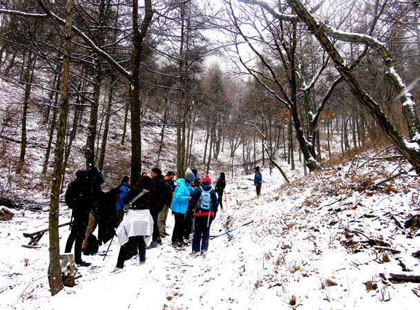 We took a break here before continuing up through the forest - Stone Valley Great Wall snow hike, 2017/01/07