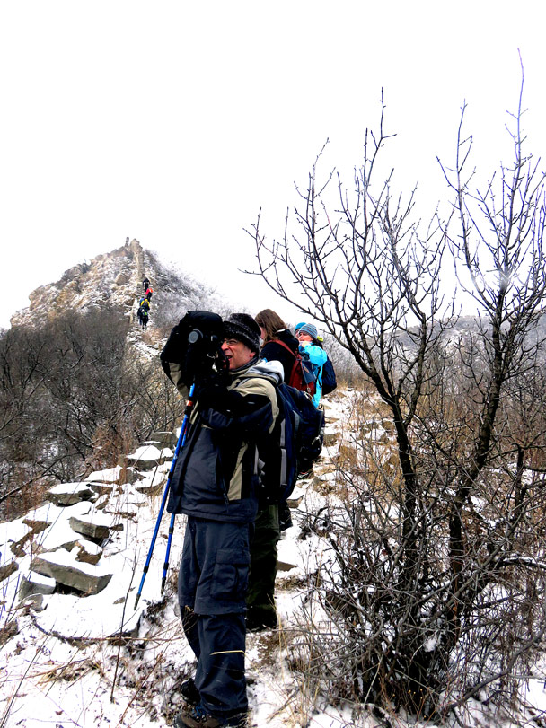 Looking back for a photo - Stone Valley Great Wall snow hike, 2017/01/07