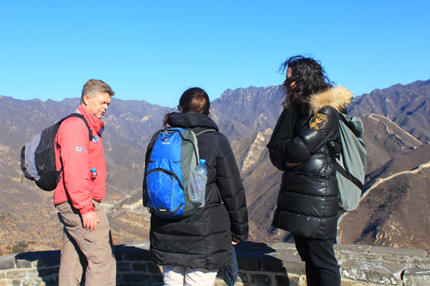 Taking a break at the top of the repaired section - Walled Village to the Huanghuacheng Great Wall, 2017/1/14