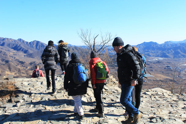Starting to head down to the finish - Walled Village to the Huanghuacheng Great Wall, 2017/1/14