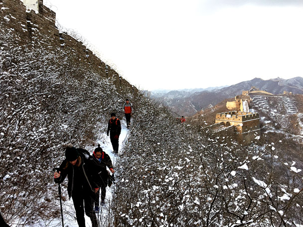 We hiked a track on the outside of the wall - Hemp Village to Jinshanling Great Wall, 2017/1/15