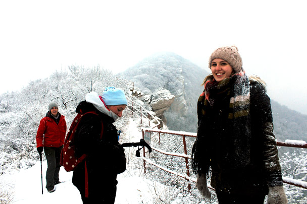 Cold up on top! - Tianmen Mountain Rock Arch, 2017/1/15