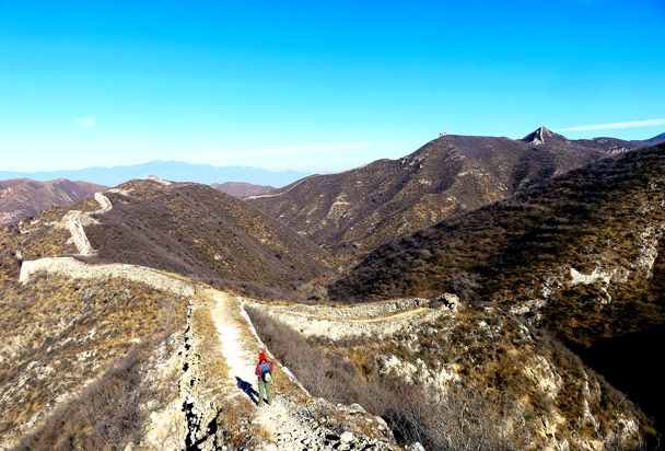 Looking back along the wall - Stone Valley Great Wall, 2017/1/27