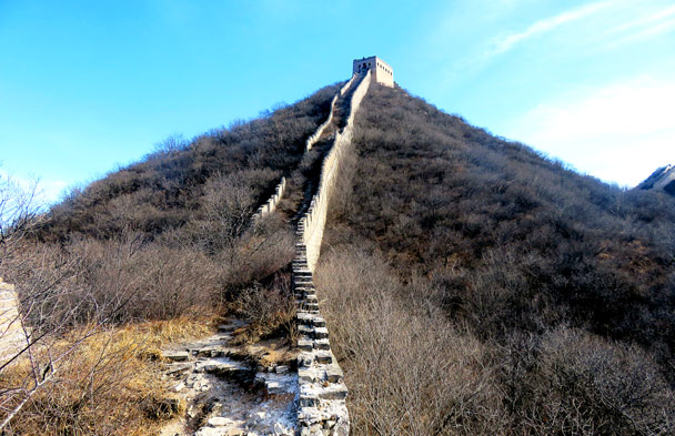 The steep climb up to the General's Tower - Stone Valley Great Wall, 2017/1/27
