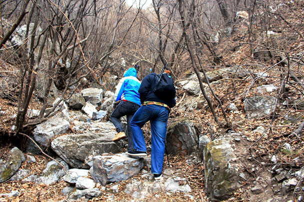 Hiking up a narrow valley -