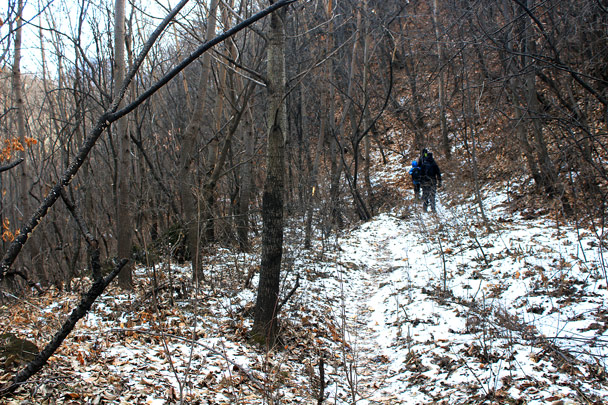 The trail down from the wall was shaded and cold, and there was still some snow left -