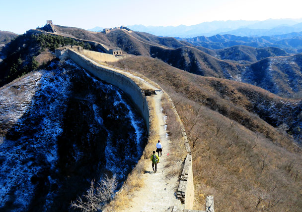 On the hike we do an up-and-back segment to take a look at 24-Eyes Tower, seen on the peak in the top left of the photo - Gubeikou Great Wall Loop, 2017/1/30