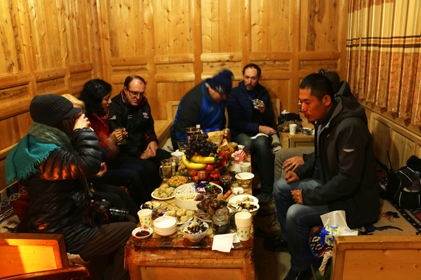 We were welcomed to Deerlong Monastery with tea and snacks - Labrang Monastery and Xiahe, Gansu