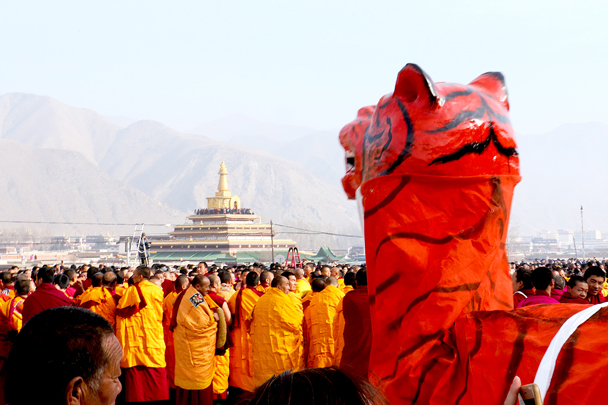 The tiger is facing the Gongtang Pagoda - Labrang Monastery and Xiahe, Gansu