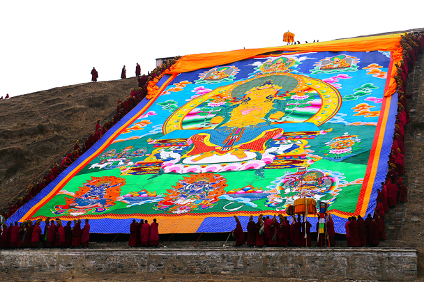 There it is. This year they brought out the Maitreya Buddha (the Future Buddha). In 2016 we saw the Manjushri Buddha (the Buddha of Insight) - Labrang Monastery and Xiahe, Gansu