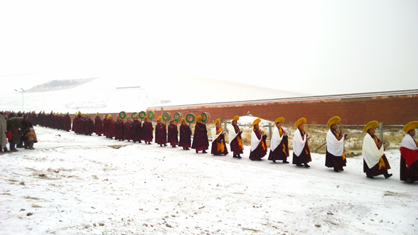 A procession of monks - Labrang Monastery and Xiahe, Gansu